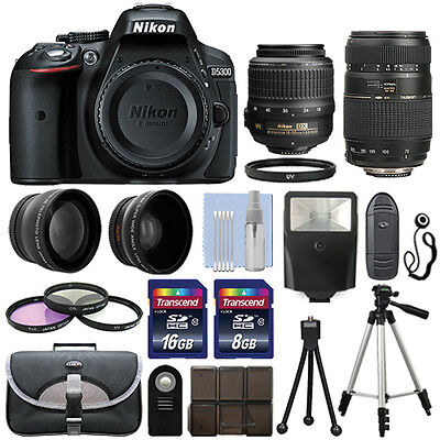 Nikon D5300 Digital SLR Camera + 4 Lens Kit 18-55mm VR + 70-300mm + 24GB Package