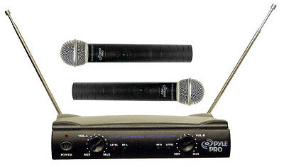 Pyle Pro PDWM2500 Dual VHF Wireless Mic Microphone System Mikes