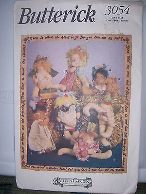 """3054 Butterick Pattern Garden 1993 Forget Me Knots Assorted 7"""" Doll Bunny Rabbit"""