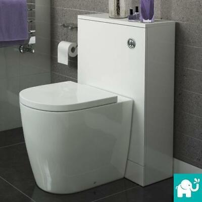 Modern Bathroom White or Walnut Cistern Unit & Back To Wall Ceramic Toilet WC