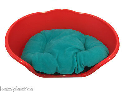SMALL Plastic RED Pet Bed With AQUA / TEAL Cushion Dog Cat Sleep Basket, puppy