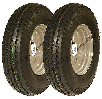 2 - 4.80/4.00 - 8 road legal high speed 100mm PCD trailer wheels tyre rim 400 8