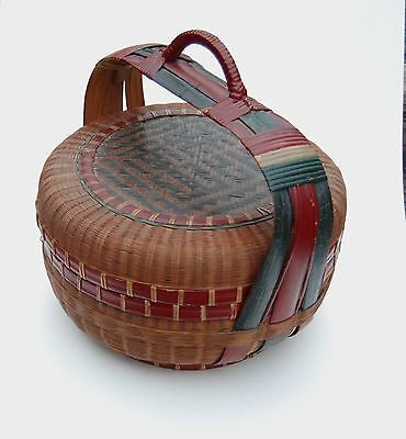 Antique Chinese basket RARE 1900's - 1940's handmade, with handle and lid