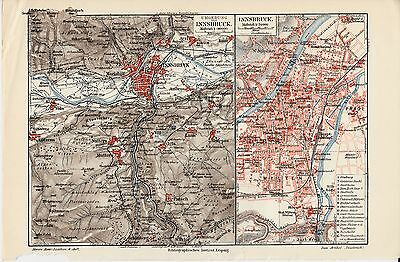 c. 1890+ AUSTRIA INNSBRUCK & OUTSKIRTS CITY PLAN  Antique Map