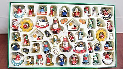 Vintage 50 Fabulous Wood Wooden Mini Feather Tree Christmas Ornaments in Box!