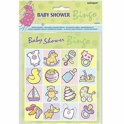 Baby Shower Bingo Cards Kit Set Pack Fun Party Game For Up To 8 Players