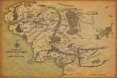 "20x13"" Silk Fabric Cloth Wall Poster Map Of Middle Earth The Lord Of The Rings"