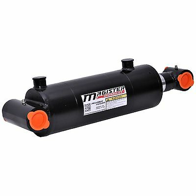 """Hydraulic Cylinder Welded Double Acting 4"""" Bore 12"""" Stroke Cross Tube 4x12 NEW"""