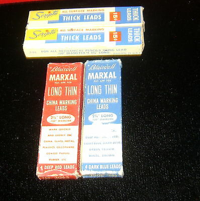 Vintage: 4 Boxes BLAISDELL & SCRIPTO Thick Leads for Mechanical Pencils+ BLUEred