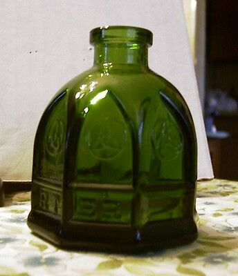 Wheaton Carter Cathedral Ink Well Ink Bottle Olive Green .