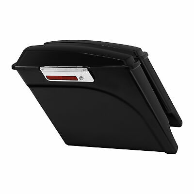 "5"" Vivid Black Stretched Saddlebags Fit For 93-13 Harley Touring Road King Glide"