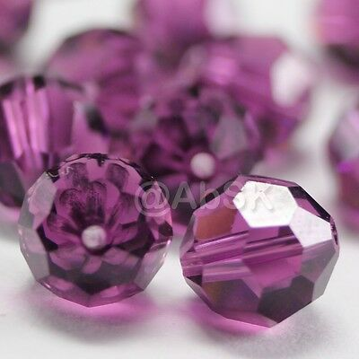 6 pcs Swarovski Element Model 5000 10mm Faceted Crystal Round Ball Bead Amethyst