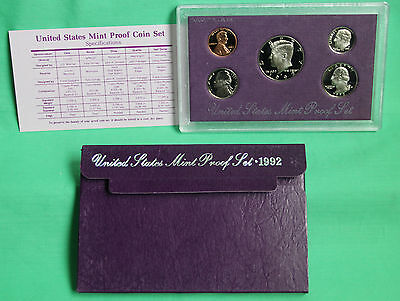 1992 United States Mint ANNUAL Proof 5 Coin Set with Original Box & COA