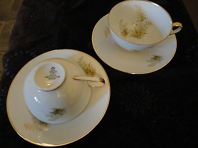 Set of2Tea Cups w Saucers by TIRSCHENREUTH P.T. Bavaria Germany Gold Rim Floral