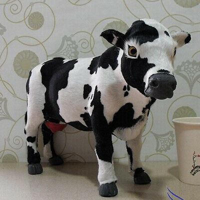 Realistic Handmade Furry Animal Figure Toy Decor Milk Cow12""