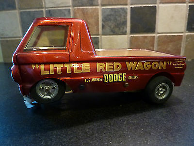 VINTAGE 1/24 SCALE SLOT CAR PRE 1970 - LITTLE RED WAGON PICK UP TRUCK by BZ'
