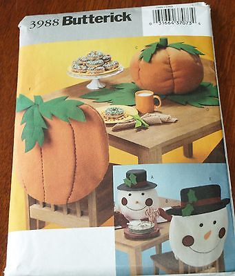 Butterick Pattern 3988 TABLETOP & CHAIRBACK For FALL, CHRISTMAS