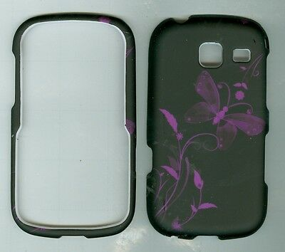 Black Butterfly hard rubberized Defender case cover for SAMSUNG SCH-S380C NET10