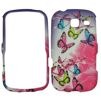 Rose Butterfly hard rubberized Defender case cover for SAMSUNG SCH-S380C NET10