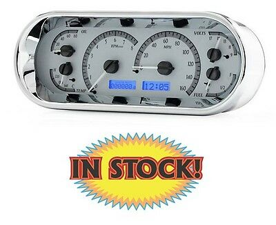 Dakota Digital Universal Oval Gauge Set Silver w/ Blue Illumination VHX-1018-S-B