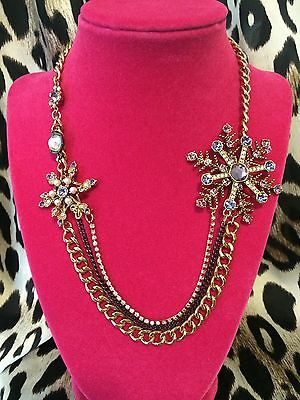 Betsey Johnson Tzarina Snowflake Snow Winter Pearl Crystal Necklace VERY RARE