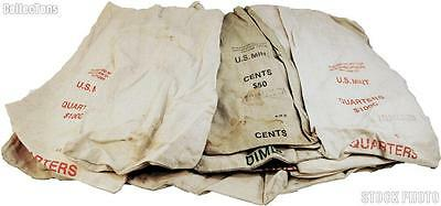 100 Mixed Large Size Canvas Bank Money Coin Bags including Official US Mint Bags