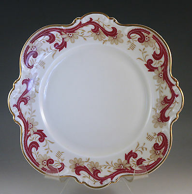 VINTAGE HUTSCHENREUTHER #7226 SALAD PLATE, RED SCROLLS, SCALLOPED, SQUARE