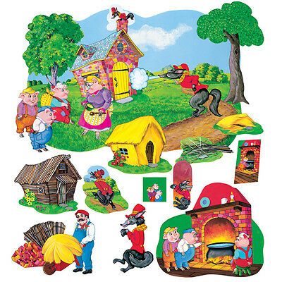 3 Little Pigs Deluxe Felt Figures Flannel Board Stories +lesson guide coloring