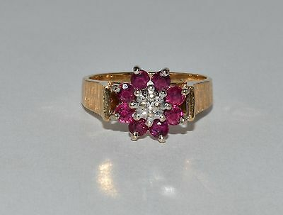 Fine Estate Natural Ruby & Diamond Flower Cocktail 14k Yellow Gold Ring Sz 6.25