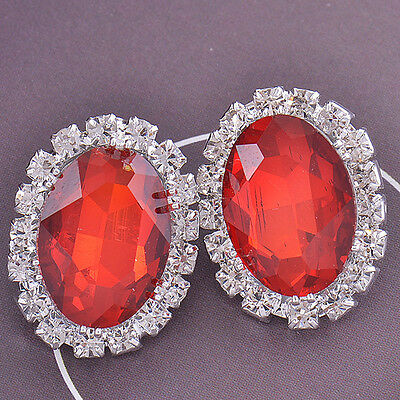 COOL Red Crystal 9K White Gold Filled CZ Ladies Earrings,F2438