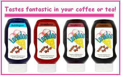 Lenados Topping Syrup Bubblegum Chocolate Strawberry Raspberry Maple Syrup 585g