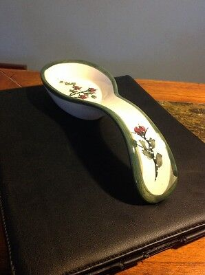 Ceramic Glazed Painted Floral Spoon Rest
