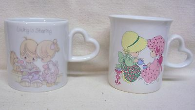 Two Precious Moments Coffee Cups Mugs With Heart Shaped Handles
