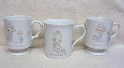 Three Precious Moments Mother Coffee Cups Mugs Two Are Footed