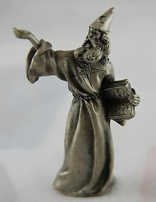 Hudson Fine Pewter Figure Wizard Sorcerer with Spell Book Fantasy and Moon Hat
