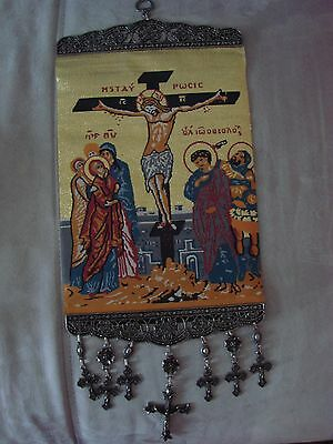 18'' Huge Woven Wall Hanging Tapestry Jesus Icon Crucifix Cross