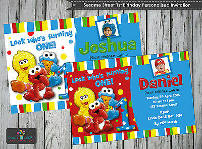 Sesame Street 1St First Birthday Personalised Invitations Cards Invites Party