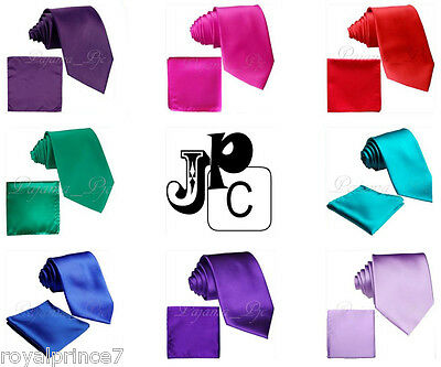 New Men's Solid Neck Tie And Pocket Square Hankie Set Wedding Party Formal Prom