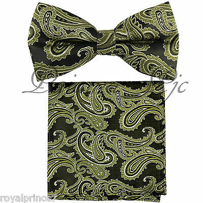 NEW MEN'S Paisley Bow tie and Pocket Square Hankie Set Wedding Party Prom Formal