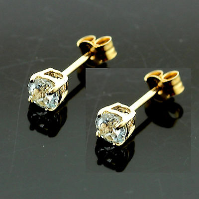 9ct Yellow Gold 4mm Round Blue Topaz  Stud Earrings Hand  MADE IN UK