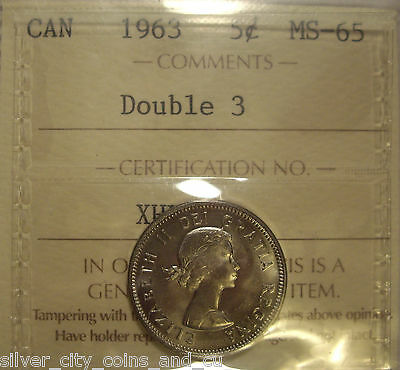 Canada Elizabeth II 1963 Doubled 3 Five Cents - ICCS MS-65 (XHL-938)