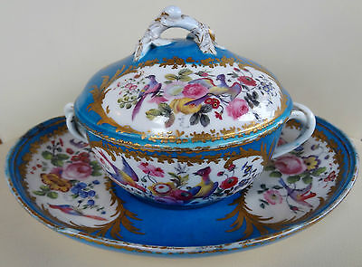 Stunning 18th Century French Sevres Blue Ecuelle with Hand Painted Exotic Birds