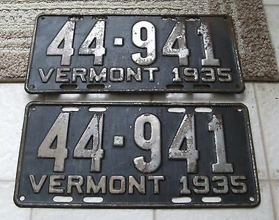 1935 35 Vermont Vt License Plate Nice Tag Buy It Now Old Rustic Pair Set Decor