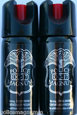 2 Police Magnum pepper spray 2 ounce Stream Twist Lock Safety Defense Protection