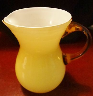 Post-1940 Small Kanawha Yellow & White Case Glass Pitcher