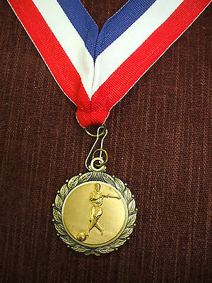 male bowler gold medal with wide patriotic neck drape trophy