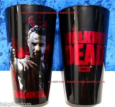 The Walking Dead Rick Grimes Glass Tumbler Cup Andrew Lincoln Black Red Metallic