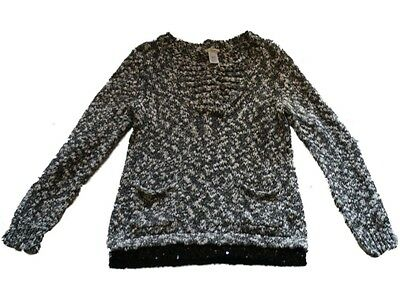Girl Crewcuts Black White Marled Sequin Trim Pullover Sweater Size 12