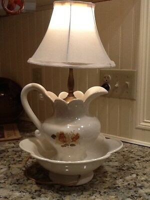 Antique porcelain tea rose chamber pot & pitcher table lamp!!