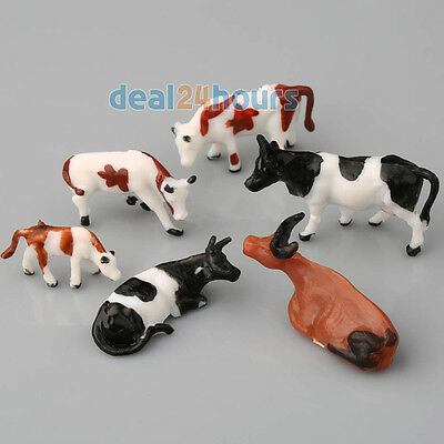 10pcs HO Scale Model Train Building Layout Painted Animal Figures 1:87 Cows